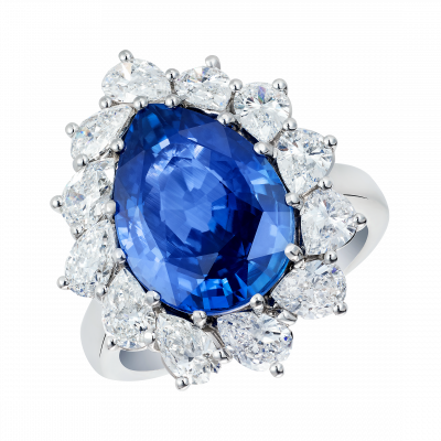 Princess Natural Cornflower Blue Sapphire Cluster Ring