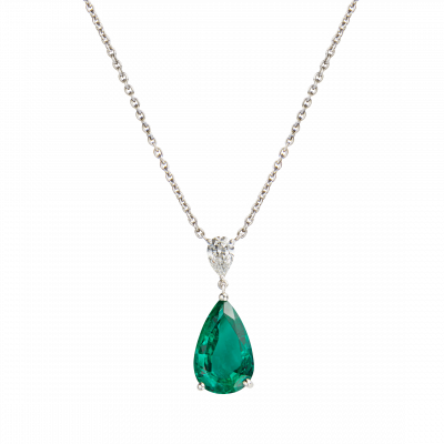 Wallace Emerald and Diamond Pendant
