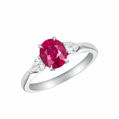 Trio Ring Oval Ruby and Diamond
