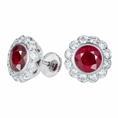 Carnation Ruby and Diamond Earrings