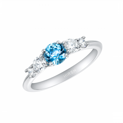 Cinq Aquamarine and Diamond Ring