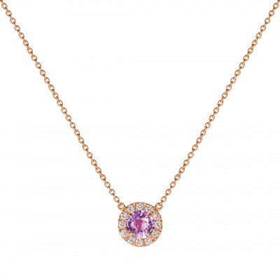 Regal Pink Sapphire and Diamond Pendant