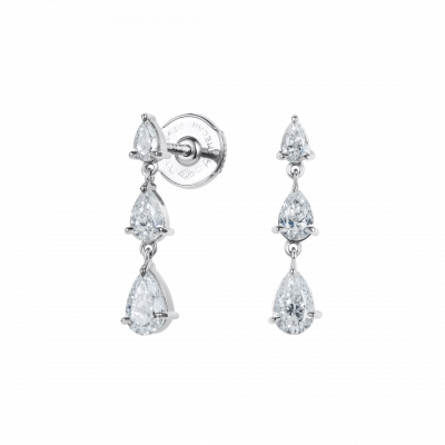 Trilogy Pear Shape Diamond Earrings
