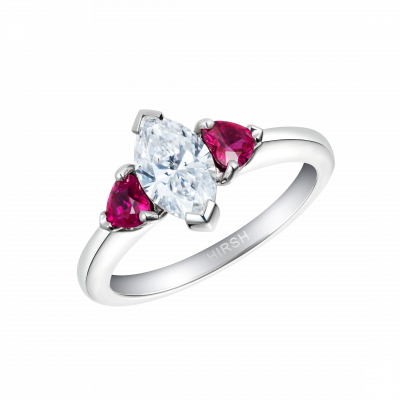 Trio Diamond and Ruby Ring