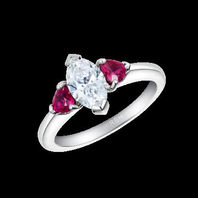 Trio Diamond and Ruby Ring