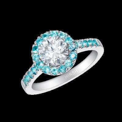 Regal Diamond Ring with Paraíba Tourmalines