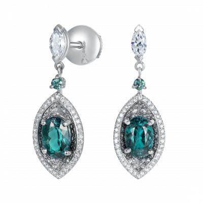 Cleopatra Alexandrite and Diamond Earrings