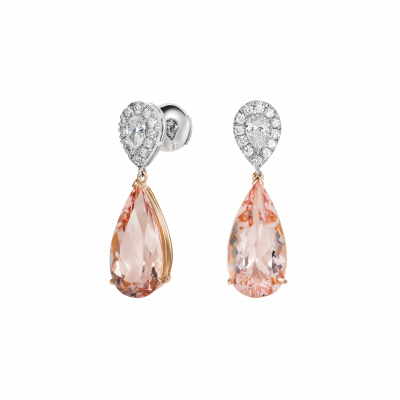Burlington Morganite and Diamond Earrings
