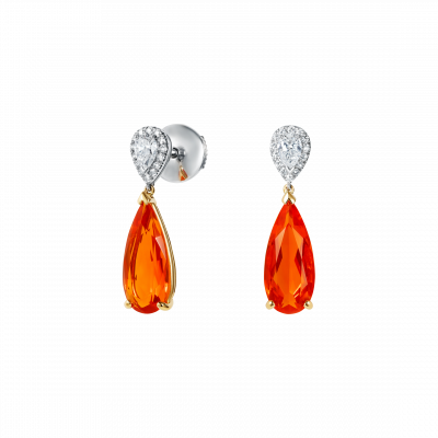 Burlington Fire Opal and Diamond Earrings