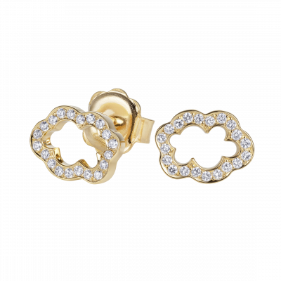 Cloud 9 Diamond and Yellow Gold Earrings
