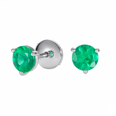 Solitaire Emerald Stud Earrings