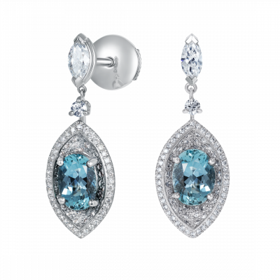 Cleopatra Aquamarine and Diamond Earrings