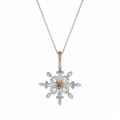 Snowflake Pendant set with Pink and Blue diamonds