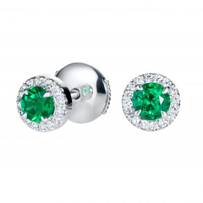 Regal Emerald and Diamond Earrings