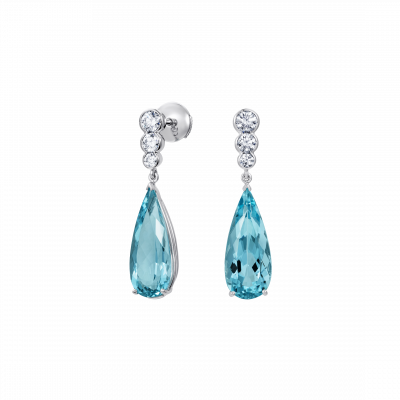 Regent Aquamarine and Diamond Earrings
