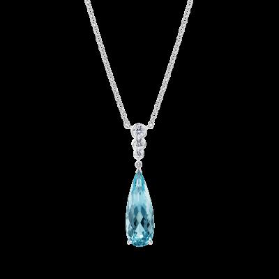 Regent Aquamarine and Diamond Pendant