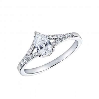 Pear Diamond Bridge Ring