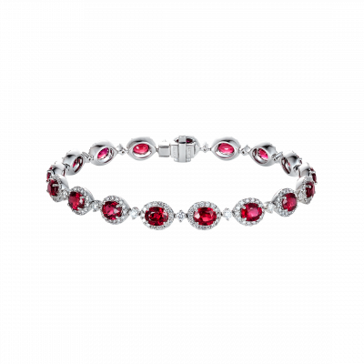 Oval Cut Ruby and Diamond Regal Bracelet