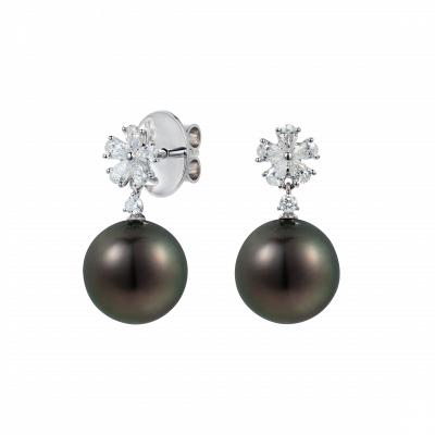 Beauchamp Tahitian and Diamond Earrings