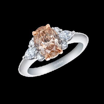 Papillon Cognac Diamond and Diamond Ring