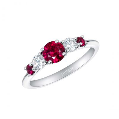 Cinq Ruby and Diamond Ring