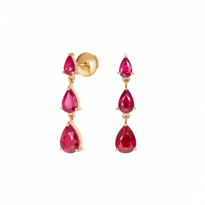 Trilogy Pear Shape Ruby Earrings