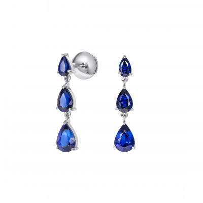 Trilogy Pear Shape Sapphire Earrings