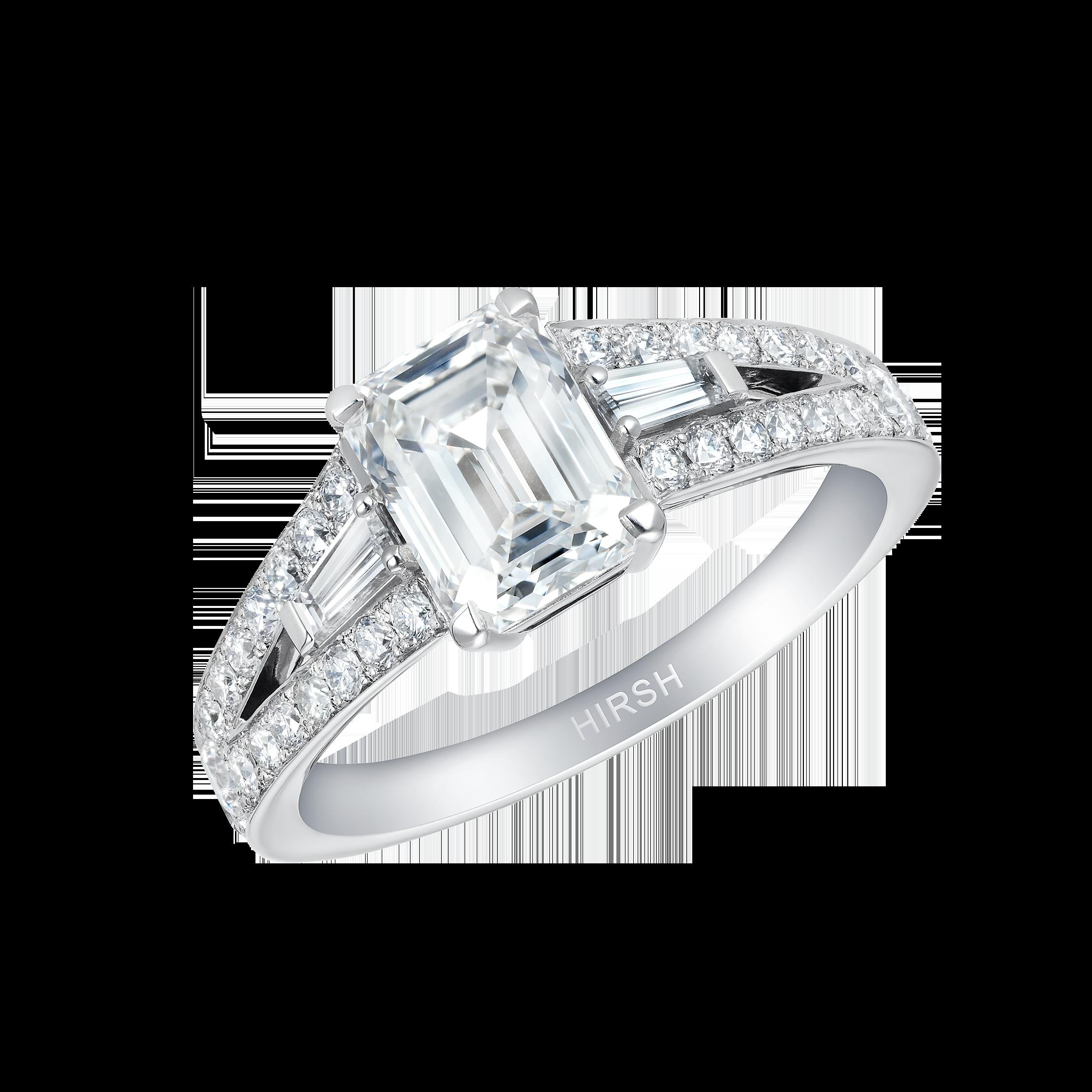 Emerald Cut Baguette Ring Engagement Rings London Hirsh Majestic