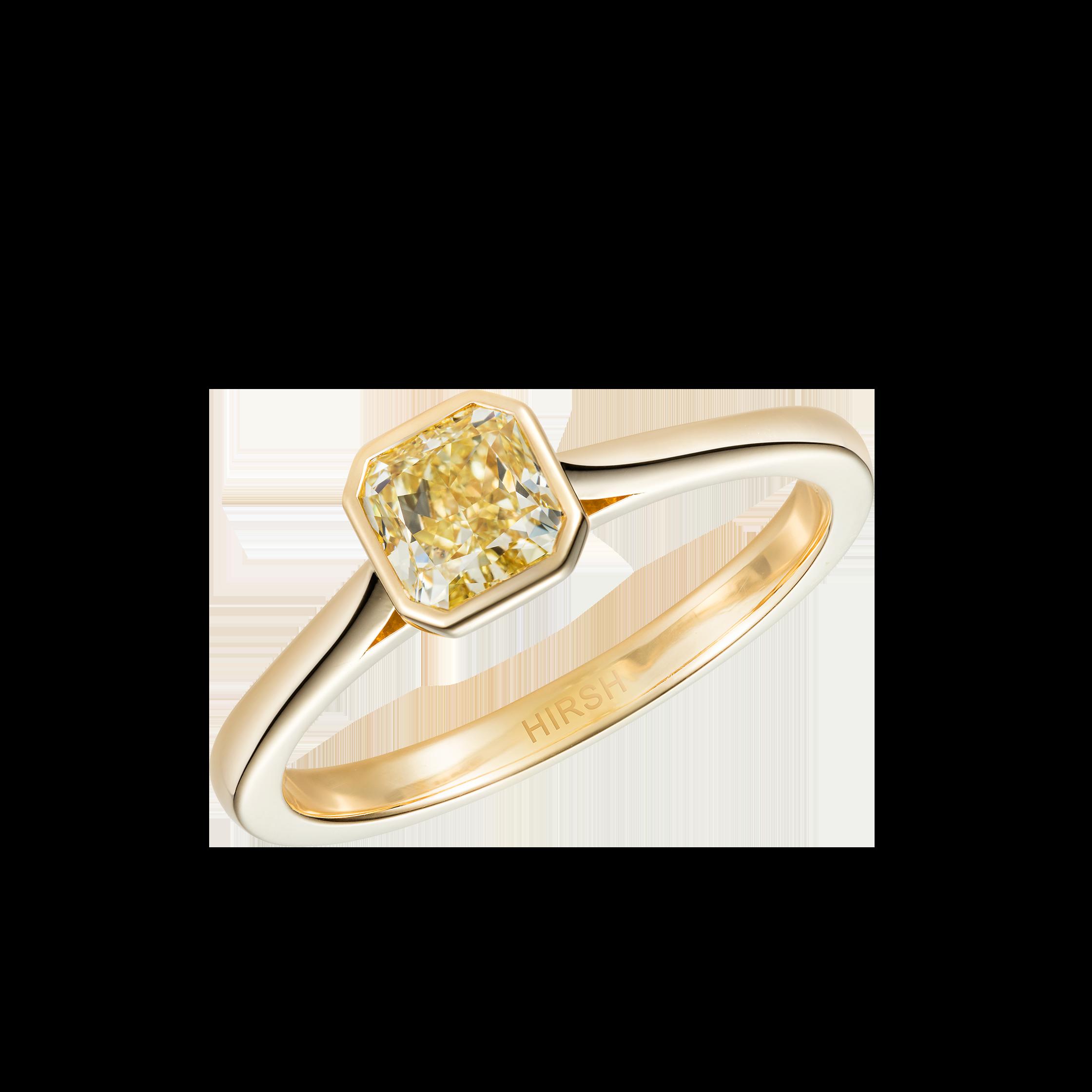 Yellow Diamond Solitaire Ring Handmade In London