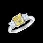 Trilogy Yellow and White Asscher cut Diamond Ring