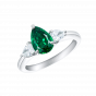 Trilogy Pear Shape Emerald and Diamond Ring