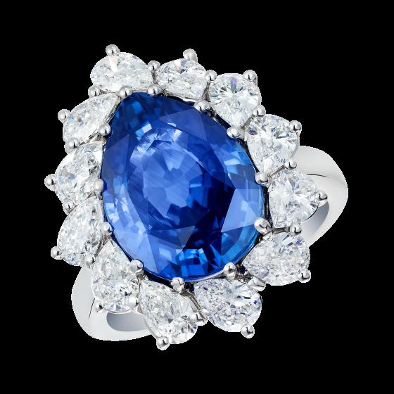 Princess Natural Cornflower Blue Sapphire Cluster Ring