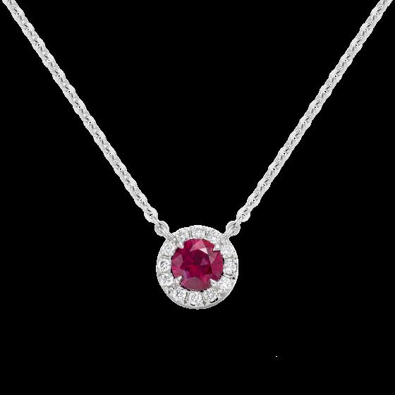 Regal Ruby and Diamond Pendant