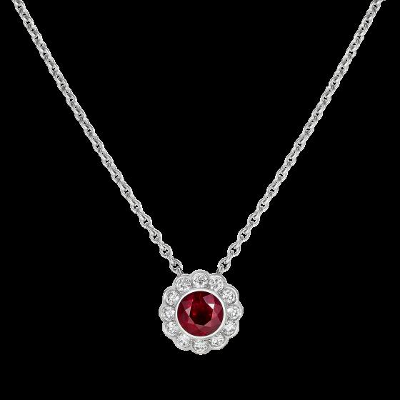 Carnation Ruby and Diamond Pendant