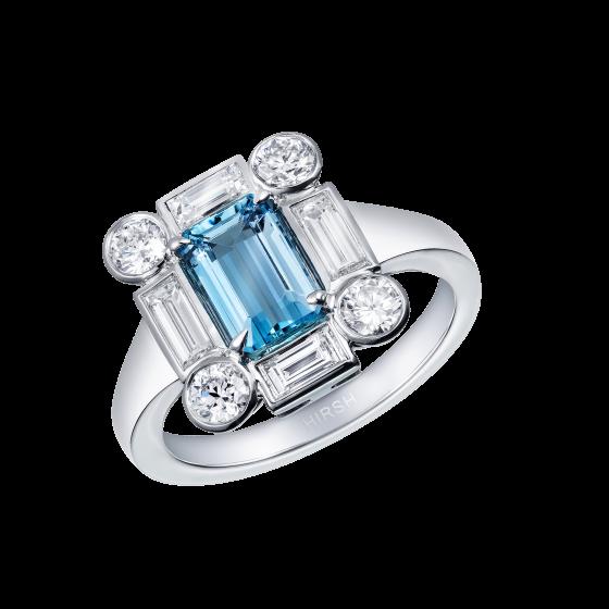 Ice Aquamarine and Diamond Ring