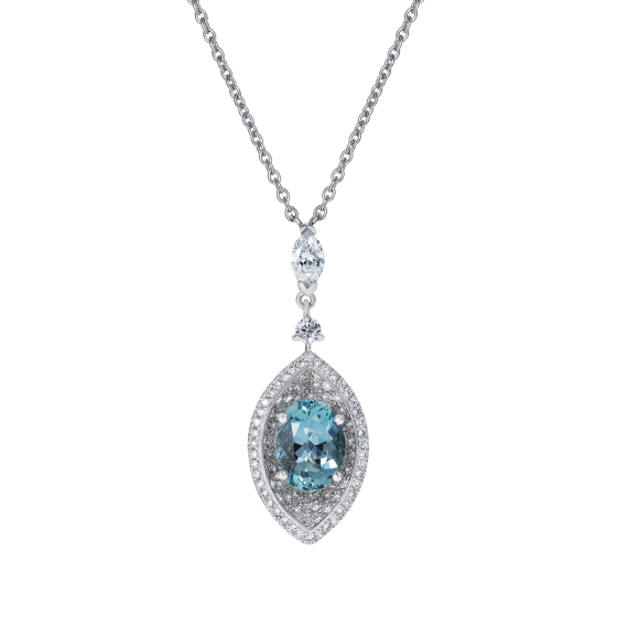 Cleopatra Aquamarine and Diamond Pendant