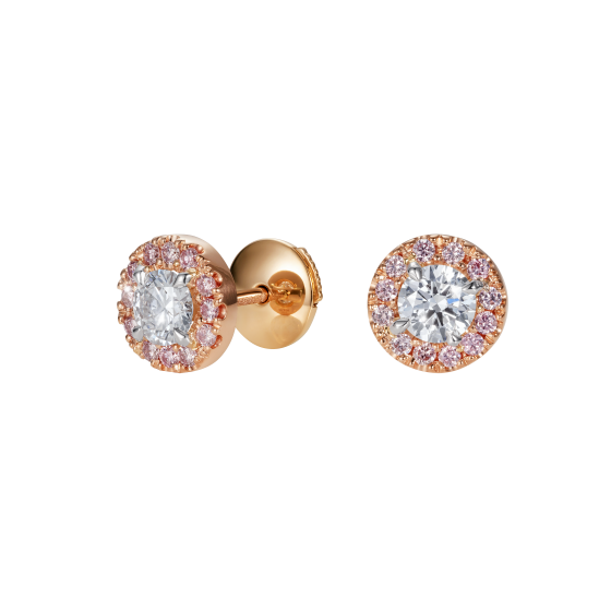 Regal Pink and White Diamond Earrings