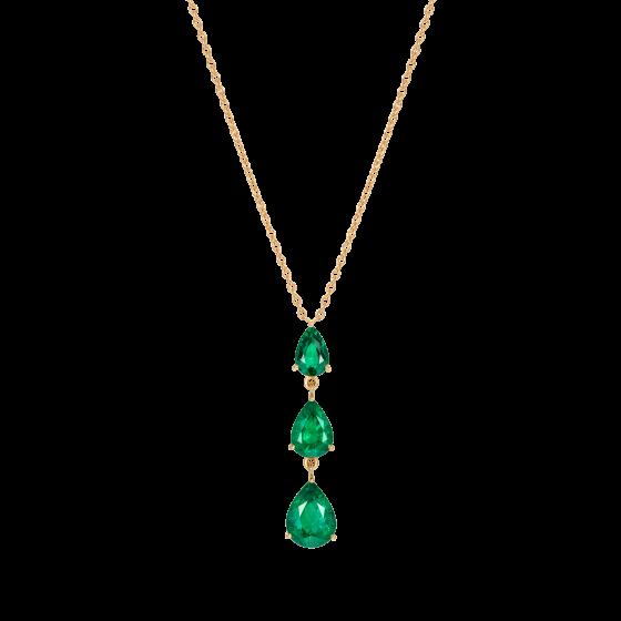 Trilogy Pear Shape Emerald Pendant