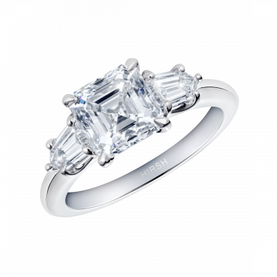 Trio Asscher Cut Diamond Ring