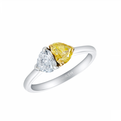 Duet Yellow and White Heart Shape Diamond Ring