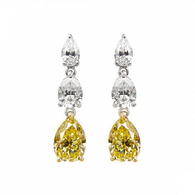 Trilogy Natural Fancy Yellow and White Diamond Earrings