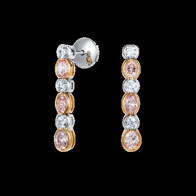 Petal Pink and White Diamond Earrings