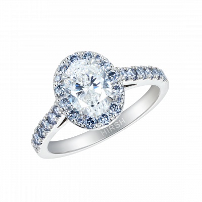 Regal Ring set with blue and white diamonds