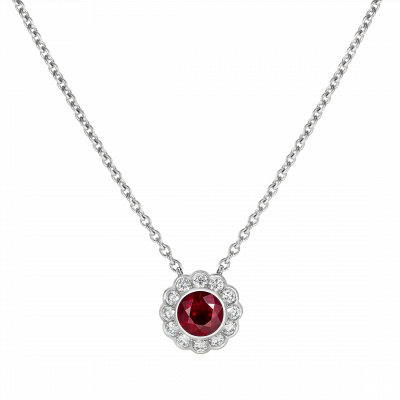 Carnation Ruby and Diamond Pendant