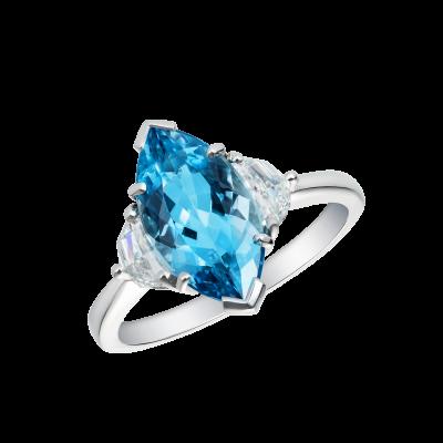 A Trio ring set with aquamarine and diamonds