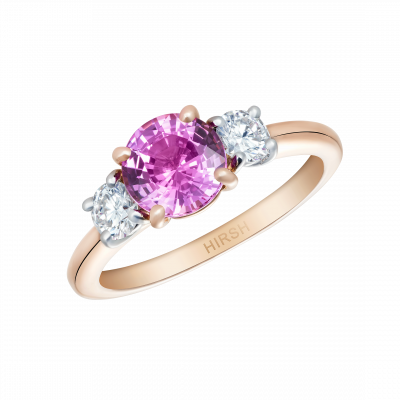 Trilogy Ring with Pink Sapphire