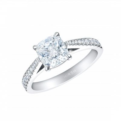 Reflection Ring with Cushion Cut Diamond