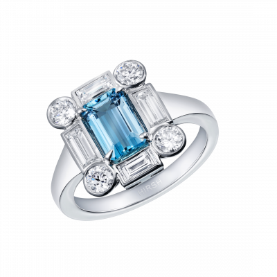 Ice Aquamarine and Diamond Ring