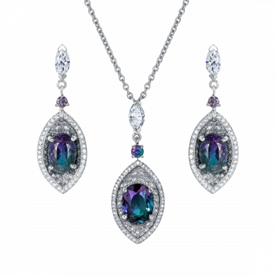 Cleopatra Alexandrite and Diamond Set