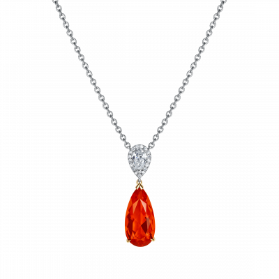 Burlington Fire Opal and Diamond Pendant